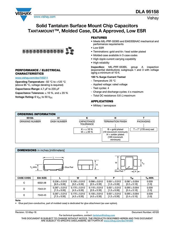 Vishay DLA 95158 Series Tantalum Capacitors