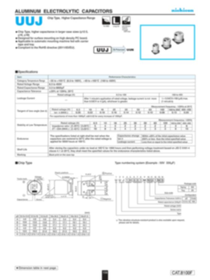 Nichicon UUJ Series Aluminum Capacitors