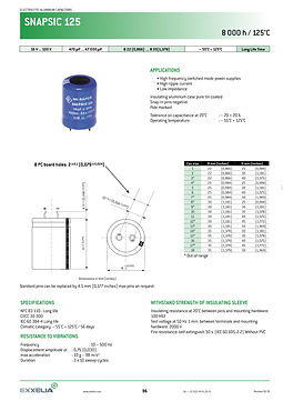 SIC SAFCO SNAPSIC 125 Series Snap In Aluminum Electrolytic Capacitors