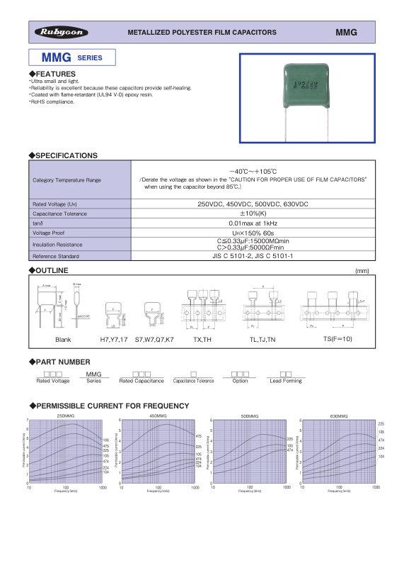 Rubycon MMG Series Radial Plastic Film Capacitors