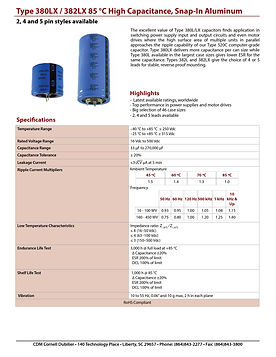 CDE Type 380LX/382LX Snap In Aluminum Electrolytic Capacitors