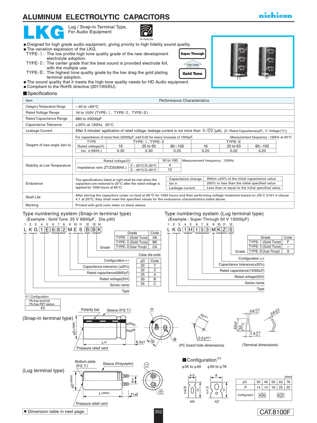 Nichicon LKG Series Capacitor Data Sheet