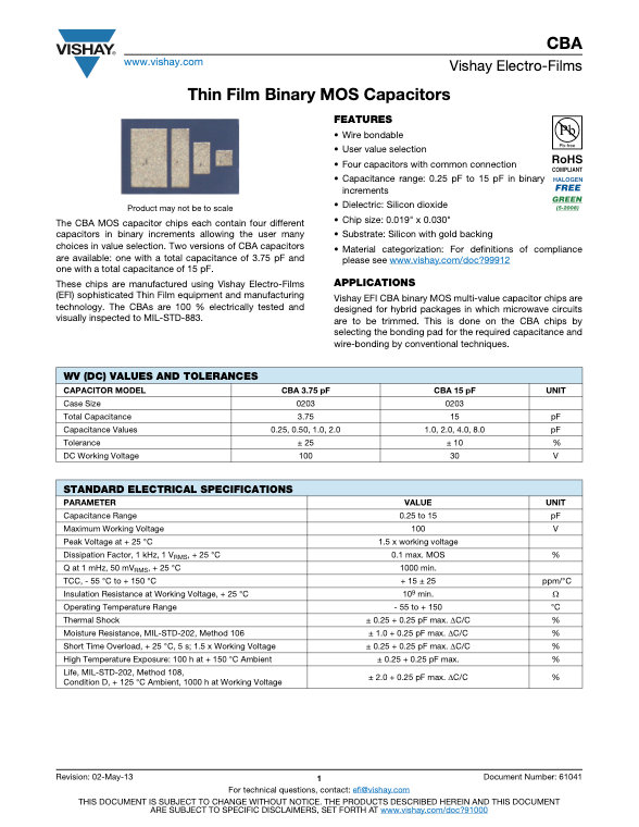 Vishay CBA Series Thin Film Binary MOS Capacitors