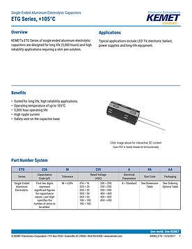 KEMET ETG Series Aluminum Capacitors