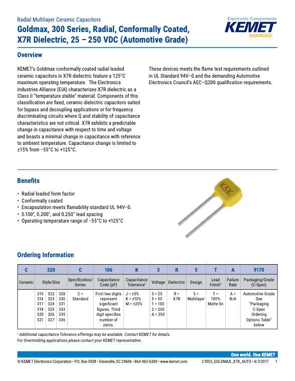 KEMET Goldmax 300 X7R Automotive Grade MLC Capacitors