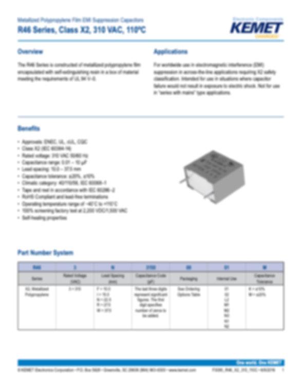 KEMET R46 310 Series Plastic Film Capacitors