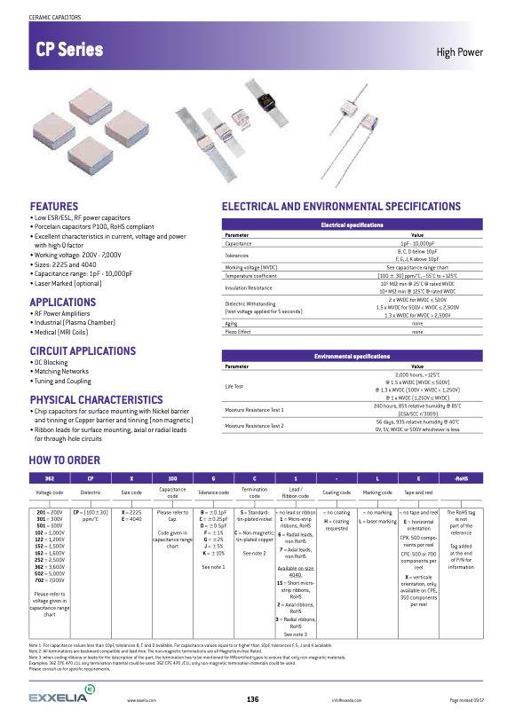 Exxelia CP Series MLC Capacitors