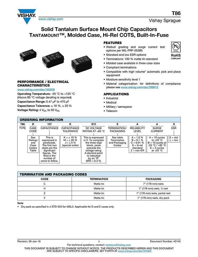 Vishay T86 Series Tantalum Capacitors
