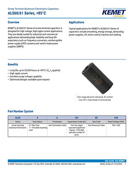 KEMET ALS60/61 Series Aluminum Electrolytic Capacitors