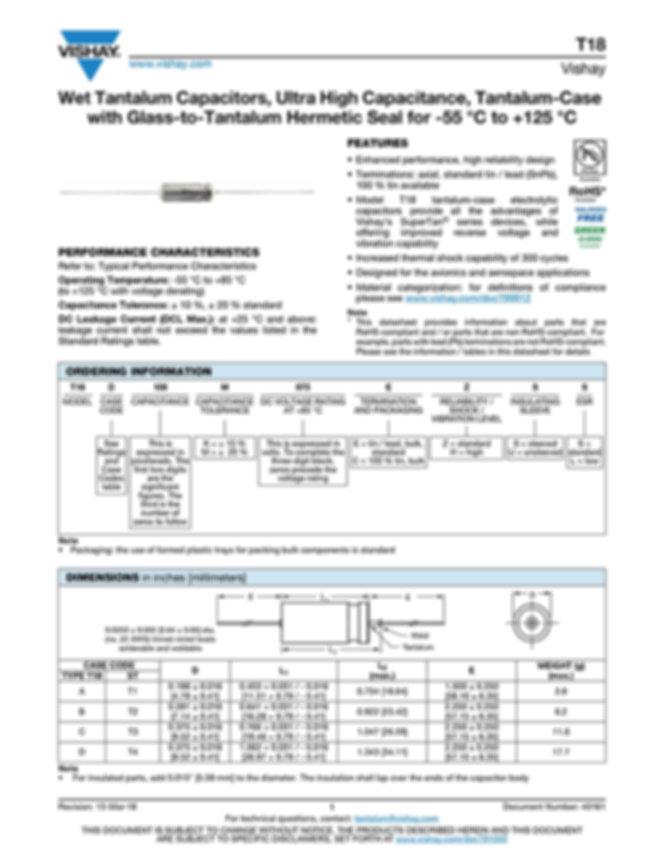 Vishay T18 Series Tantalum Capacitors
