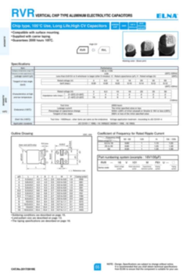 Elna RVR Series Aluminum Electrolytic Capacitors
