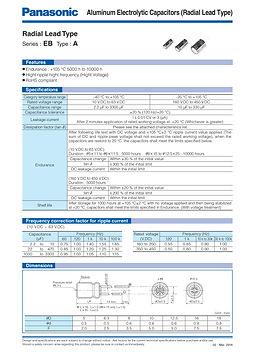 Panasonic EB Series Capacitor Data Sheets