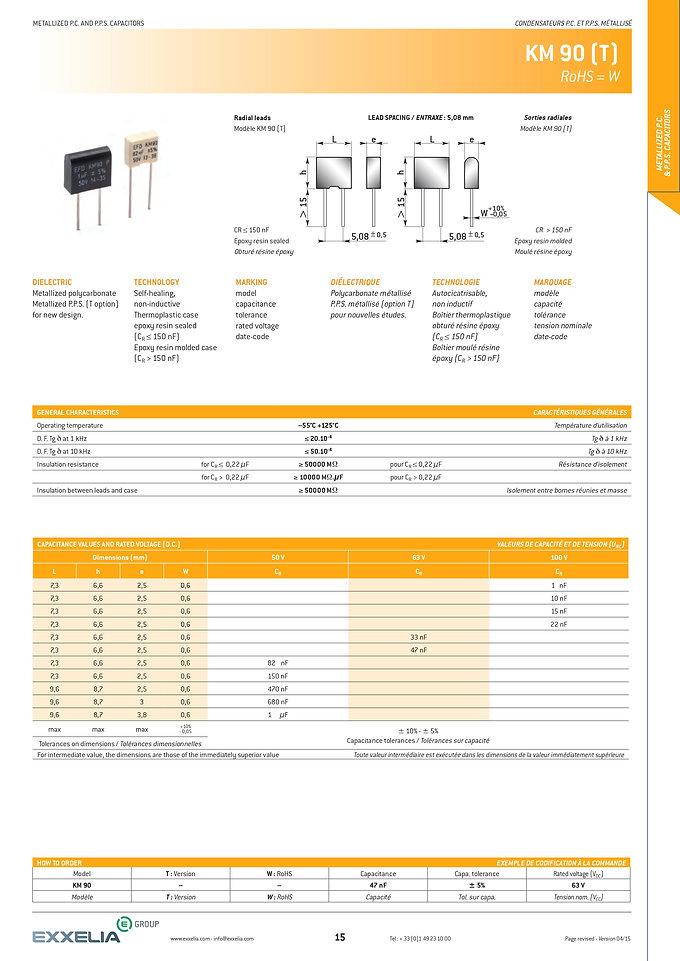 Exxelia KM90 T Series Plastic Film Capacitors