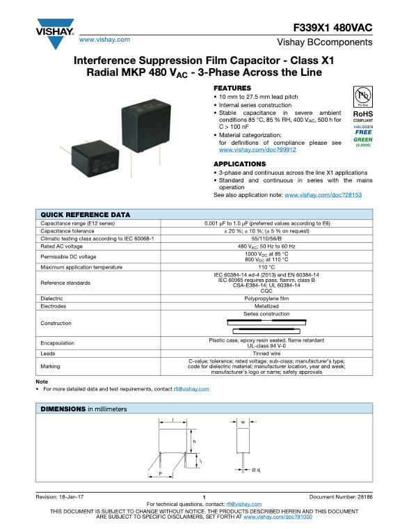 Vishay F3391X1 480VAC Series Plastic Film Capacitors