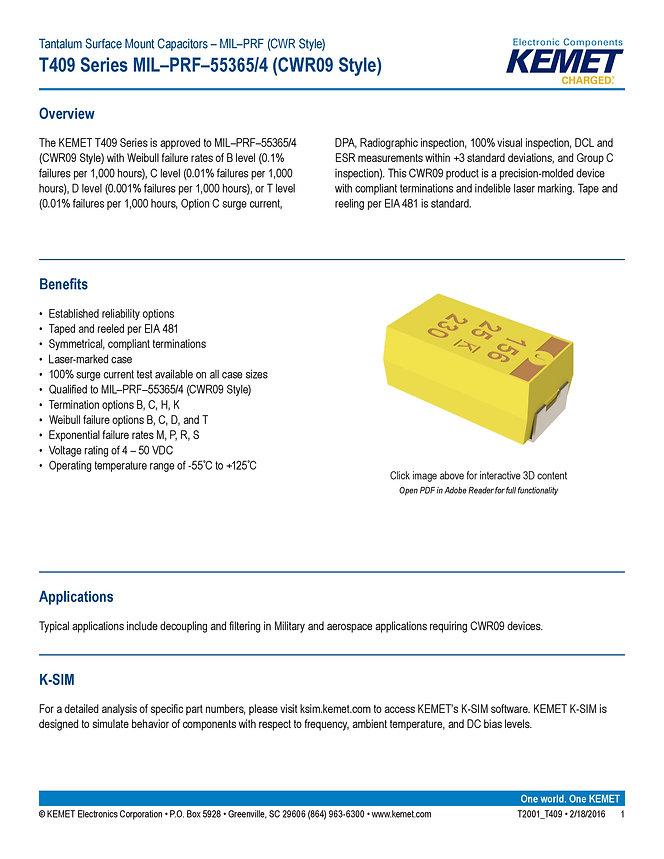 KEMET T409 Series Tantalum Capacitors