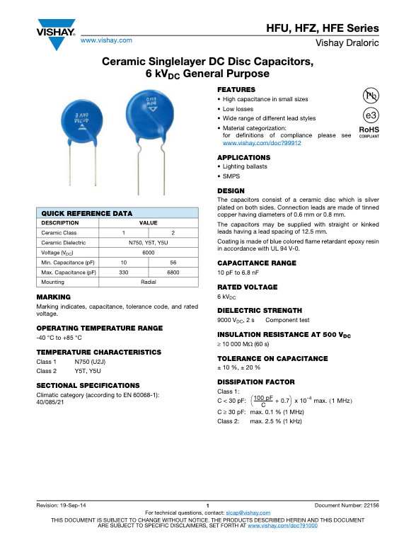 Vishay HF... Series Ceramic Disc Capacitors