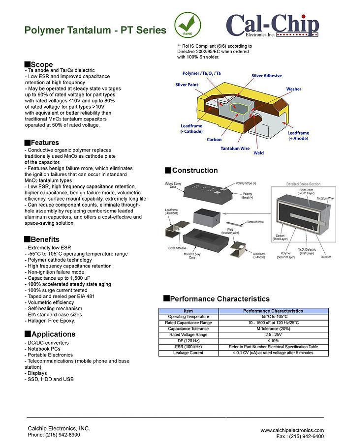 Cal Chip PT Series SMT Tantalum Polymer Capacitors