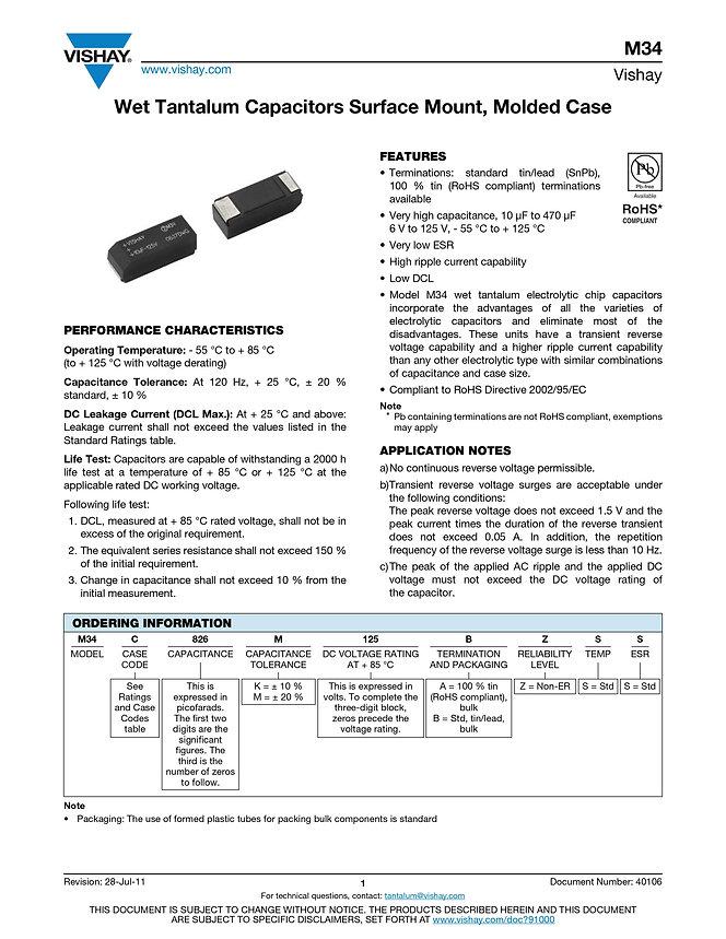 Vishay M34 Series Wet Tantalum Capacitors