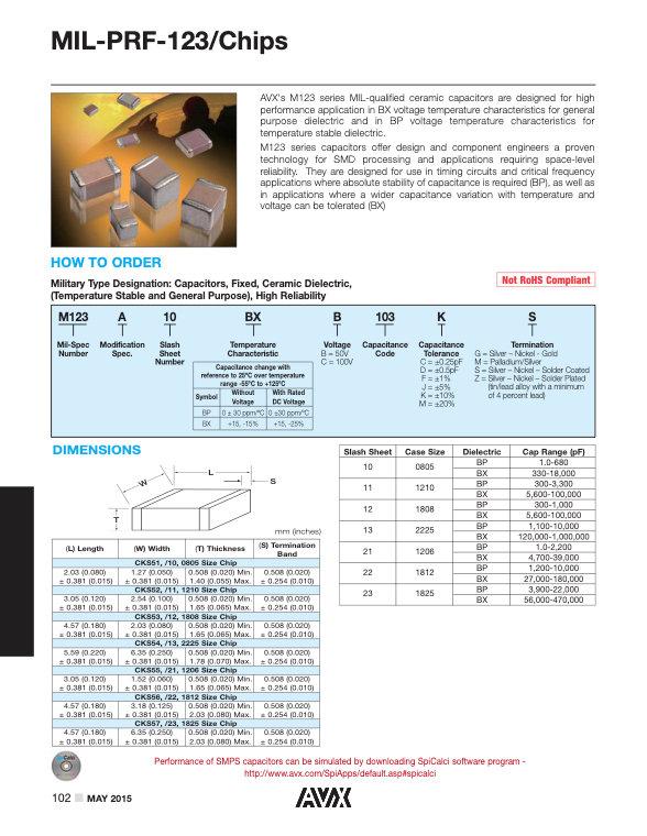 AVX MIL PRF 123 Style MLC Capacitors