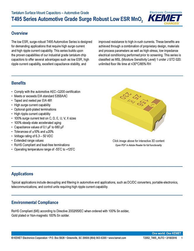 KEMET T495 Automotive Series Tantalum Capacitors