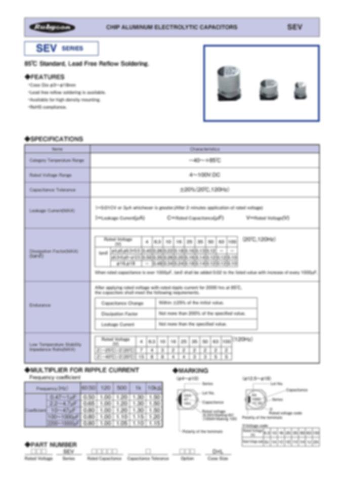 Rubycon SEV Series SMT Aluminum Electrolytic Capacitors