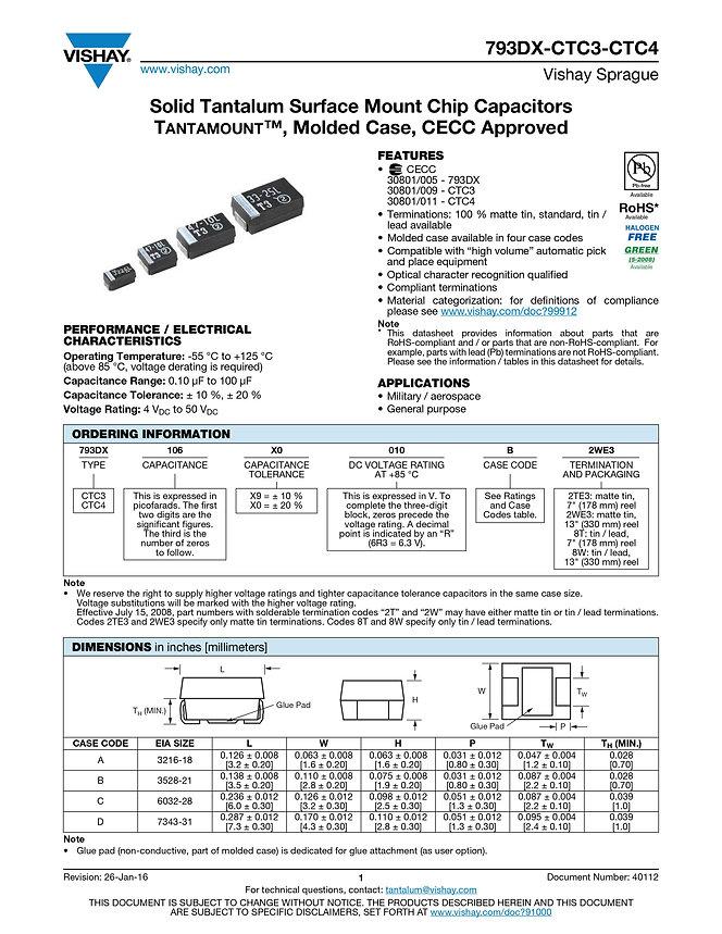 Vishay 793DX Series Tantalum Capacitors