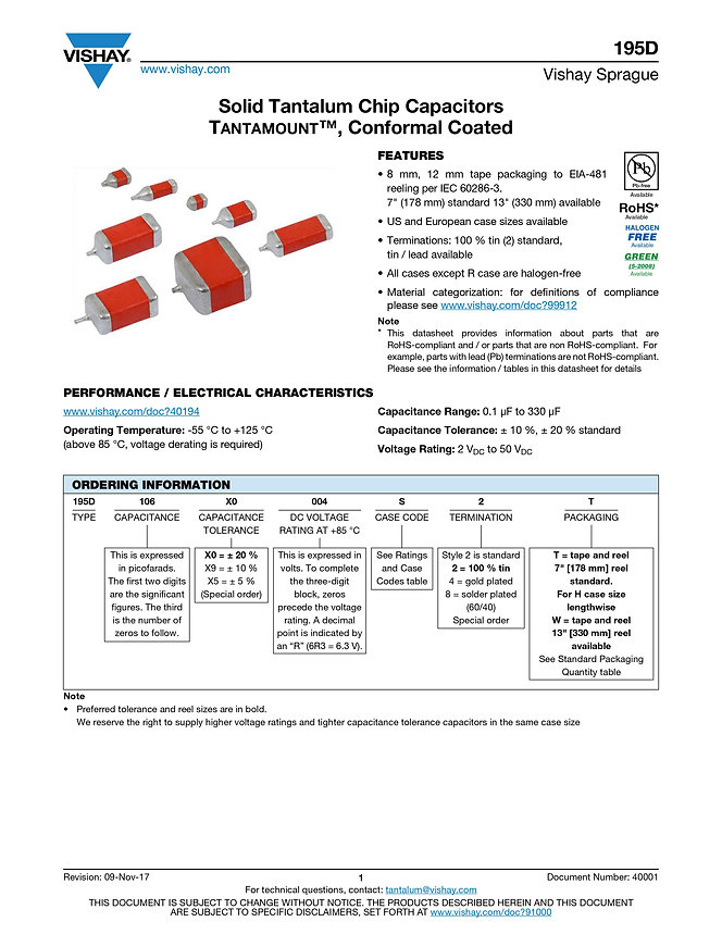 Vishay 195D Series Tantalum Capacitors