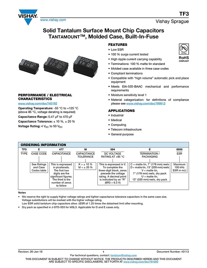 Vishay TF3 Series Tantalum Capacitors