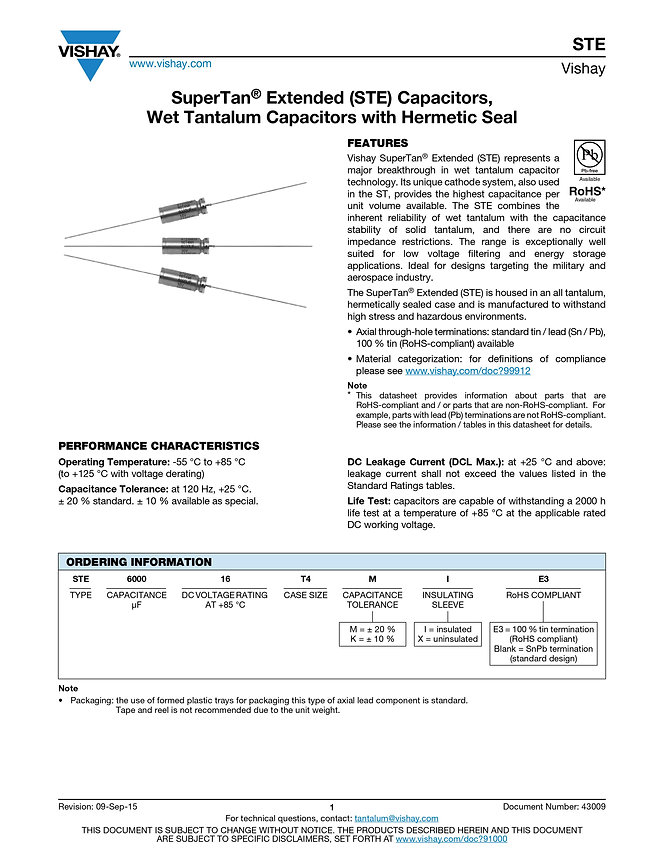 Vishay STE Series Wet Tantalum Capacitors