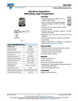 Vishay 140 CRH Series SMT Aluminum Electrolytic Capacitors