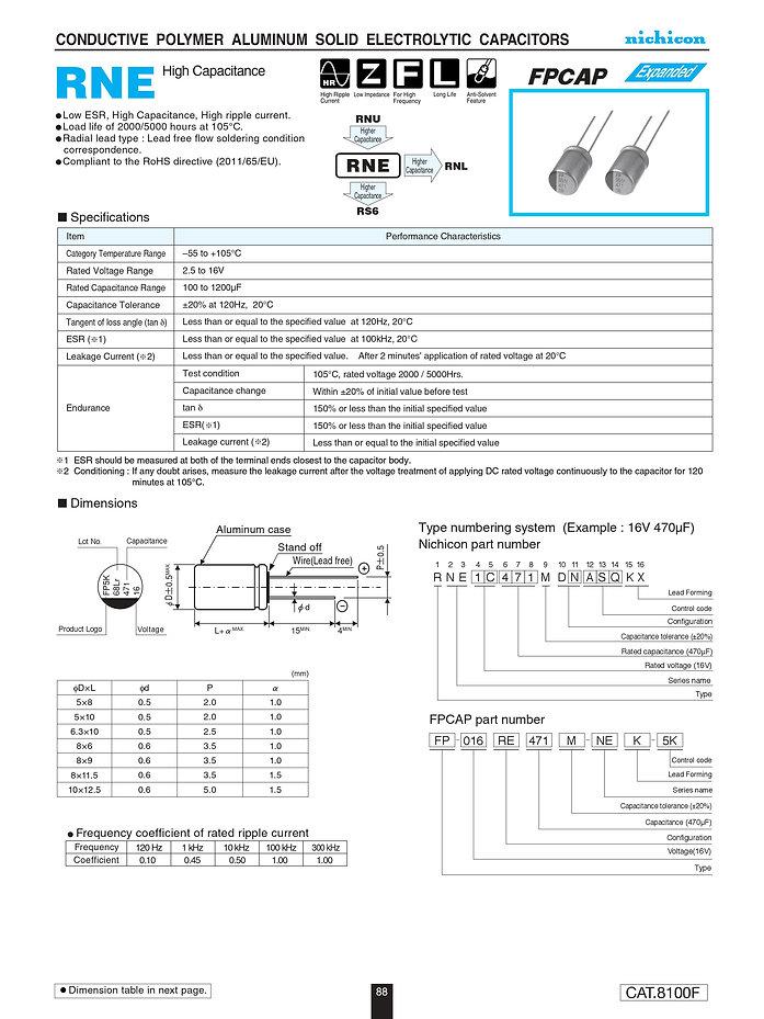 Nichicon RNE Series Aluminum Polymer Capacitors