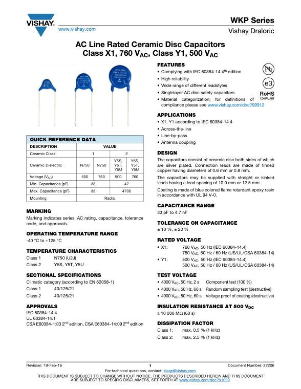 Vishay WKP Series Ceramic Disc Capacitors