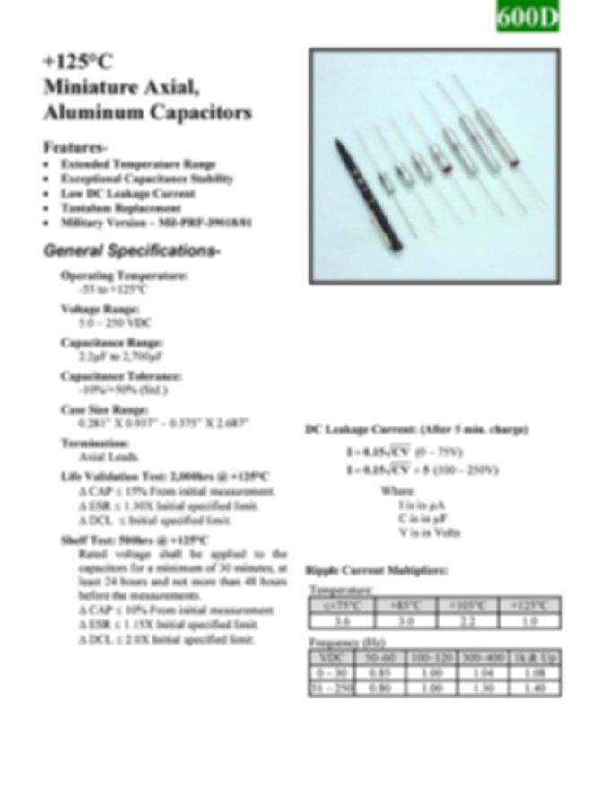 BMI 600D Series Aluminum Capacitors