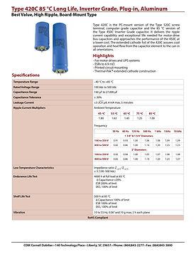 CDE Type 420C Long Life Aluminum Electrolytic Capacitors
