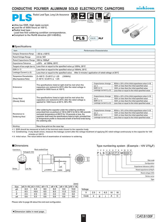 Nichicon PLS Series Aluminum Polymer Capacitors