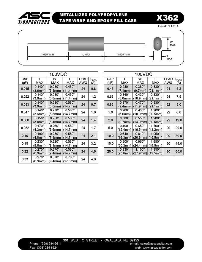 ASC X362 Series Film Capacitors