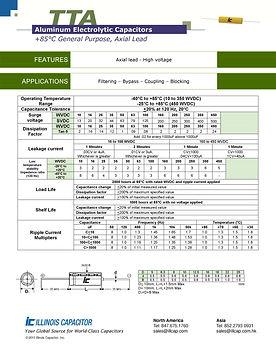 Illinois Capacitor TTA Series Axial Aluminum Electrolytic Capacitors