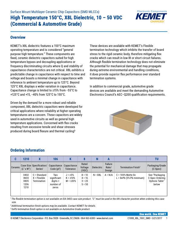 KEMET X8L Automotive Grade MLC Capacitors