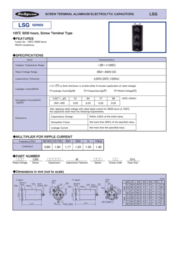 Rubycon LSG Series Aluminum Capacitors