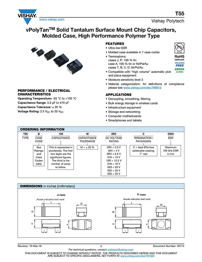 Vishay T55 Series Tantalum Polymer Capacitors