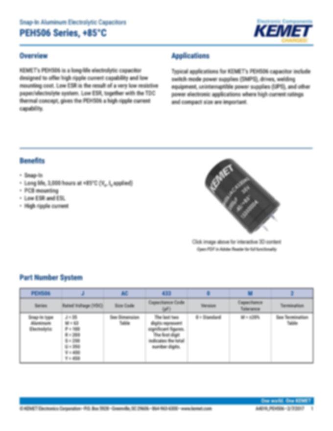 KEMET PEH506 Series Aluminum Electrolytic Capacitors