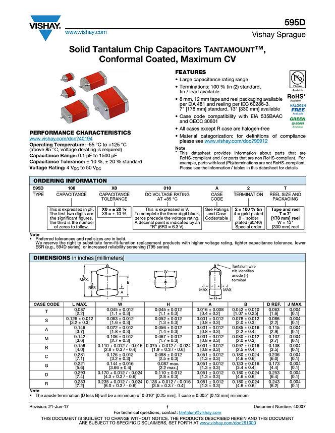Vishay 595D Series Tantalum Capacitors
