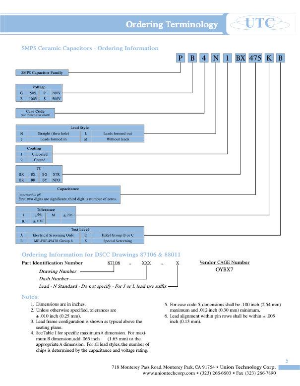 Union Technology DSCC SMPS Capacitors