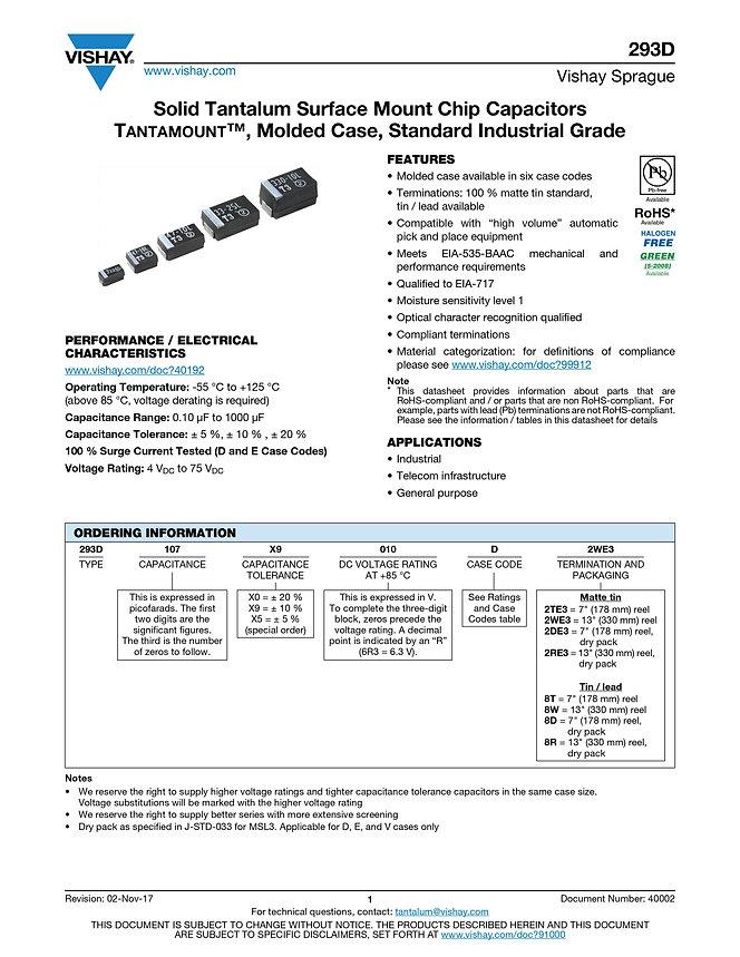 Vishay 293D Series Tantalum Capacitors