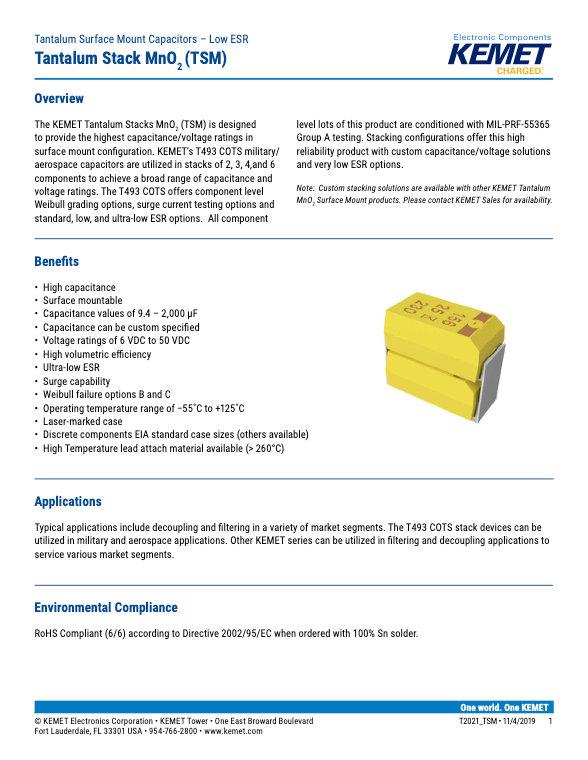 KEMET TSM Series Tantalum Capacitors