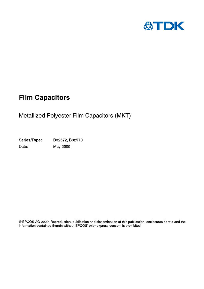 Epcos B32572 Series Metallized Polyester Capacitors