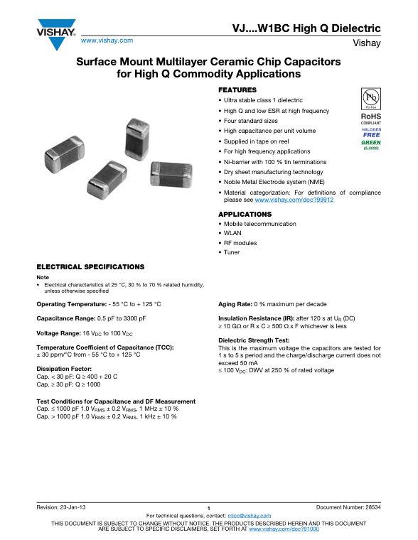 Vishay VJ...W1BC High Q Series MLC Capacitors