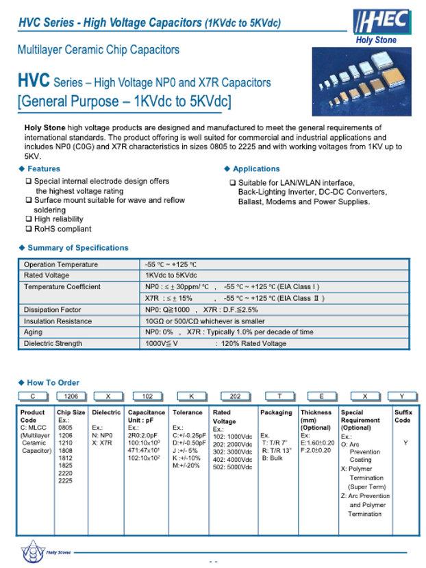 Holystone HVC Series MLC Capacitors