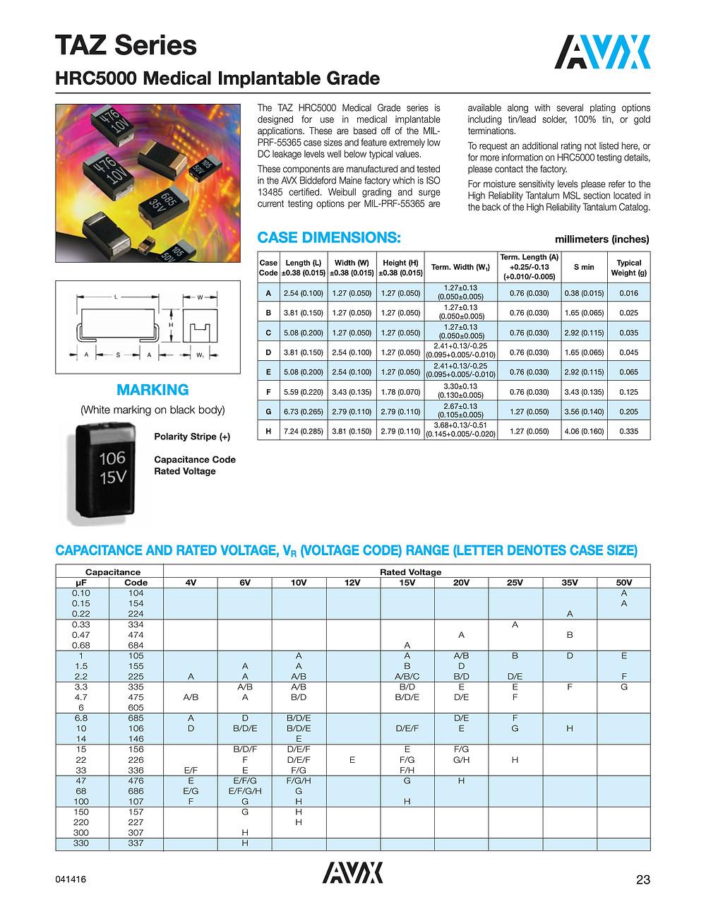 AVX TAZ HRC5000 Series Capacitor