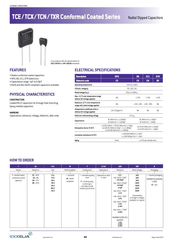 Exxelia TCx Series Radial Dipped MLC Capacitors